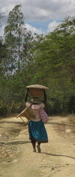 Photo of Haitian woman carrying heavy load on her head