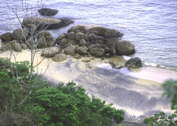 "Beach and rock formation on llha Grande (""Big Island""), Brazil, 2002 . FOLLOW THIS LINK to more photos of Brazil"
