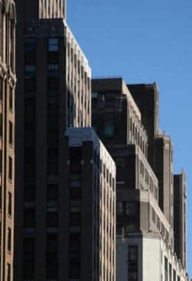 Pattern of buildings on W 34th St, NYC